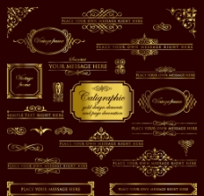 欧式金色花边边框纹理图片