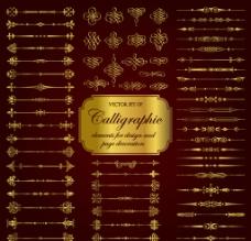 欧式复古花纹标签分割线图片