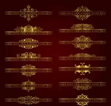 欧式金色花纹花边边框图片