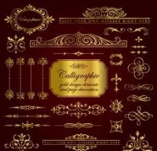 金欧式金色花纹边框线条图片