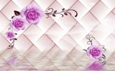 3D软包玫瑰倒影背景墙素材