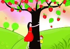 草莓姑娘插画