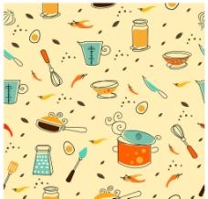 手绘厨房用具可爱背景图片