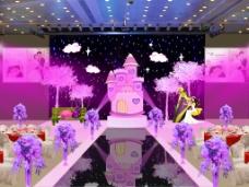 粉色城堡婚礼场景效果图