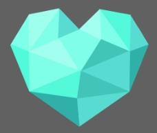 蓝色心形折纸图片