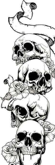 骷髅和玫瑰铅笔画_绘画分享