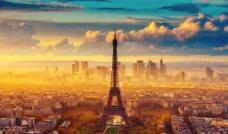 黄昏铁塔城市图片