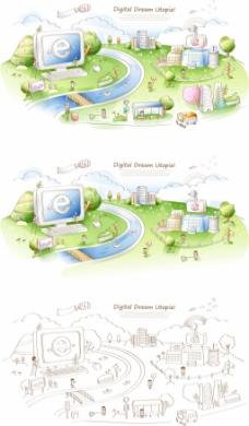 韩国花纹边框矢量图下载