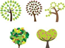 心形树木 圆形图片