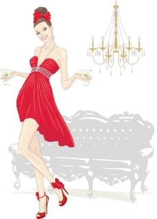 时尚红裙女郎海报