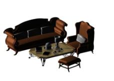 客厅沙发茶几模型图片