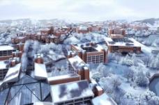 城市建筑雪景图片