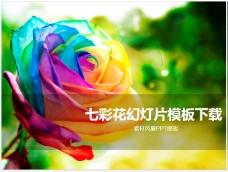 七彩花PPT模板