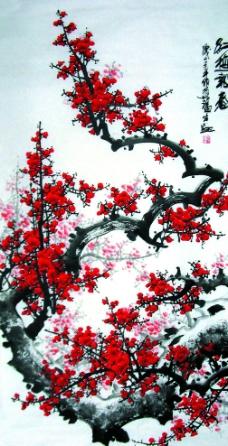 红梅报春图片