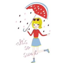 雨伞女孩图片