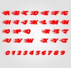 火苗组成的字母和数字图片