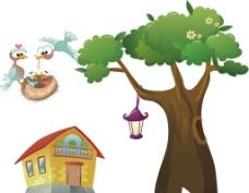 树木 房子 小鸟图片