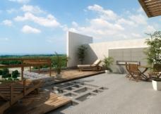 现代建筑表现户外阳台图片