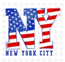 美国国旗文字T恤印花设计图片
