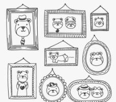 手绘熊 家族照片墙图片
