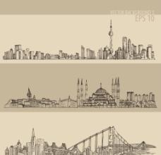 手绘城市风景banner矢量素图片