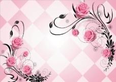 立体红色矢量线条玫瑰花方块背景图片