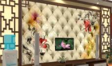 客厅3D仿软包梦幻花纹电视背景墙图片