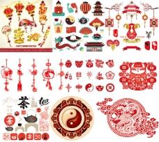 时尚中国风主题元素矢量图