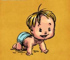 宝宝爬在地上的AI矢量图形图片