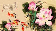 水墨中国风荷花背景图片PSD分层素材下载