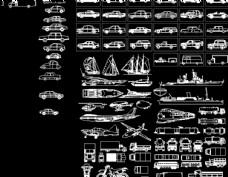 各种交通工具CAD图例图片