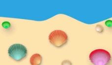 彩色贝壳  沙滩   海水图片