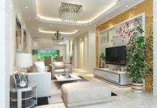 室內設計現代簡歐套房客廳電視背圖片