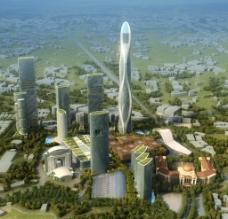 商业大楼建筑鸟瞰图图片