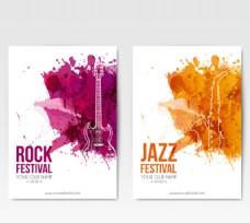 水彩绘音乐节宣传单矢量图