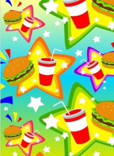矢量图汉堡饮料图片