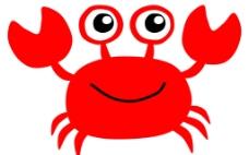 卡通简笔画红色小螃蟹图片
