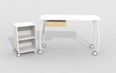 电脑桌3d模型家具图片免费下载