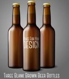 棕色啤酒瓶设计矢量素材