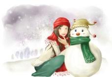 手绘雪地里的美女图片