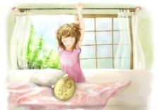 手绘睡醒的女孩图片