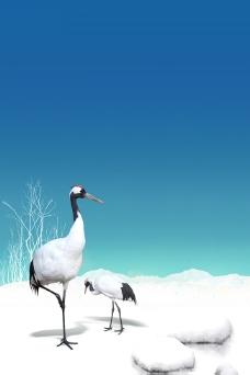 蓝色天空雪地背景素材