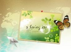 春天绿色背景素材模板下载