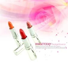 红色化妆品素材背景PSD文件下载