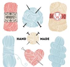 7款手绘彩色毛线矢量素材图片