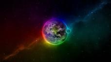 地球彩色宇宙背景图
