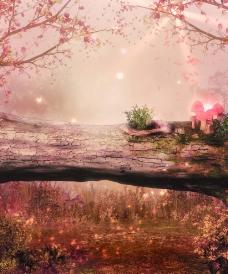 浪漫粉色景观图片