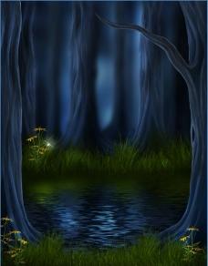 夜间丛林美景图片