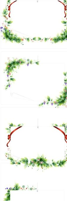 绿色花纹边框背景图片