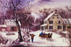 冬季乡村油画
